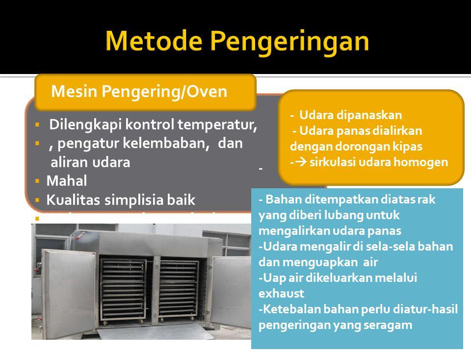 Metode Pengeringan Mesin Pengering/Oven Dilengkapi kontrol temperatur,