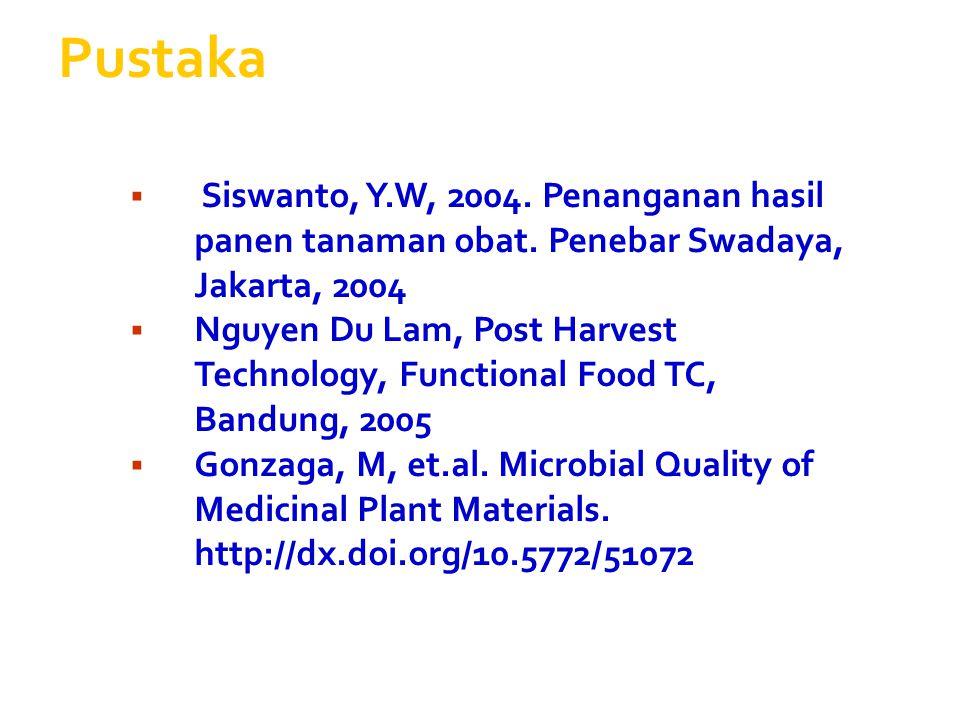 Pustaka Siswanto, Y.W, 2004. Penanganan hasil panen tanaman obat. Penebar Swadaya, Jakarta, 2004.