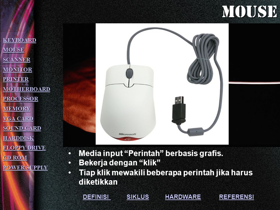 mouse Media input Perintah berbasis grafis. Bekerja dengan klik