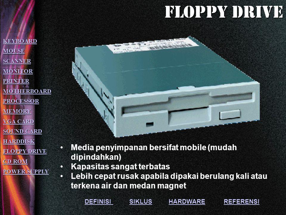 Floppy drive Media penyimpanan bersifat mobile (mudah dipindahkan)