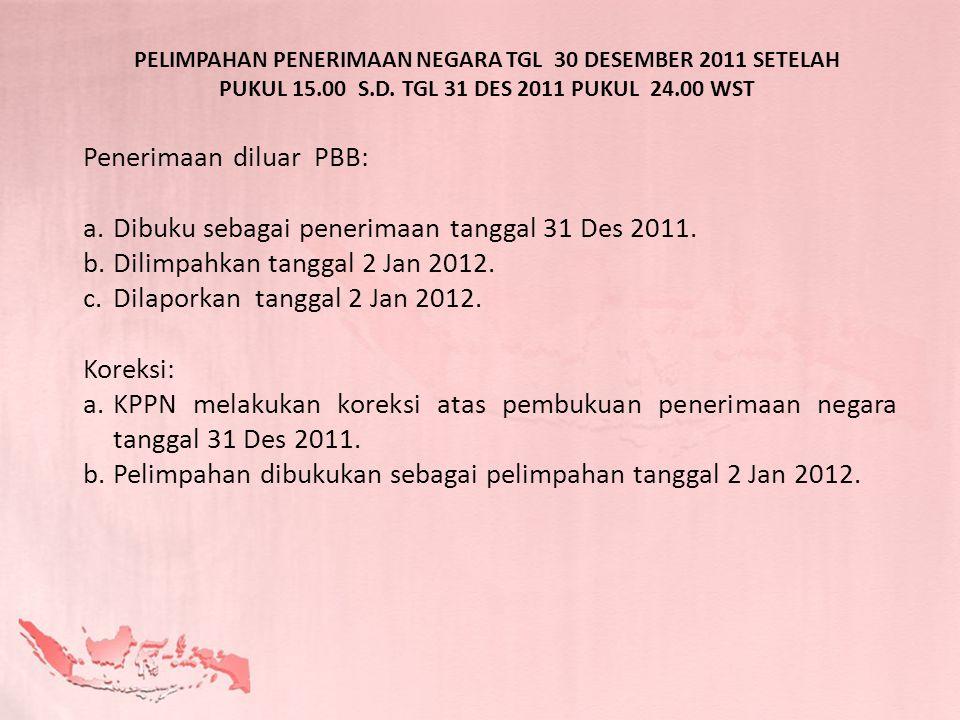 Penerimaan diluar PBB: Dibuku sebagai penerimaan tanggal 31 Des 2011.