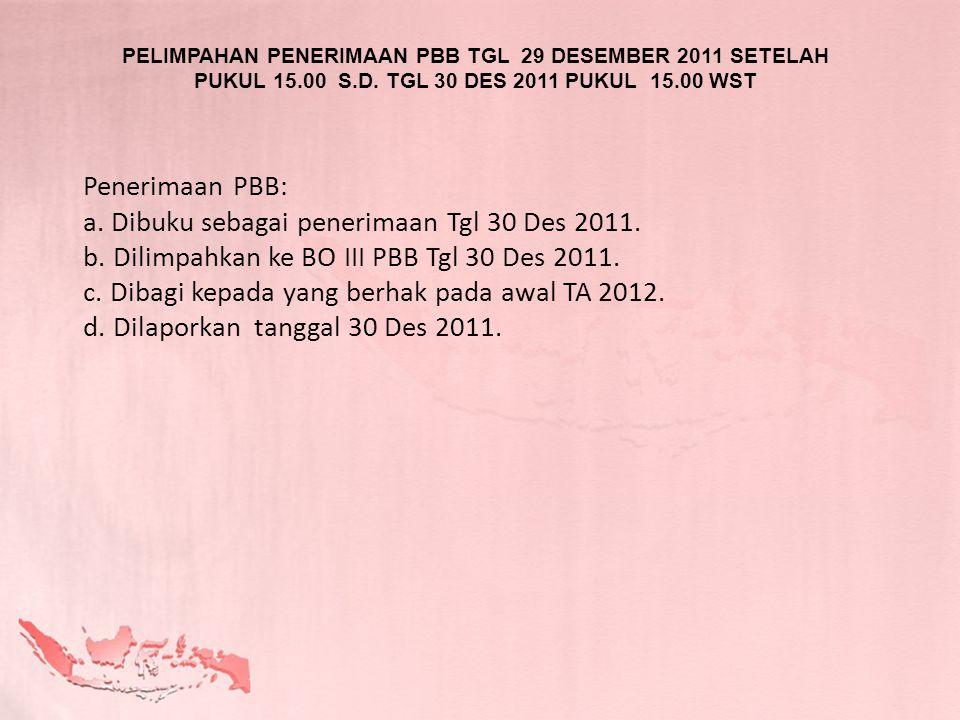 Dibuku sebagai penerimaan Tgl 30 Des 2011.