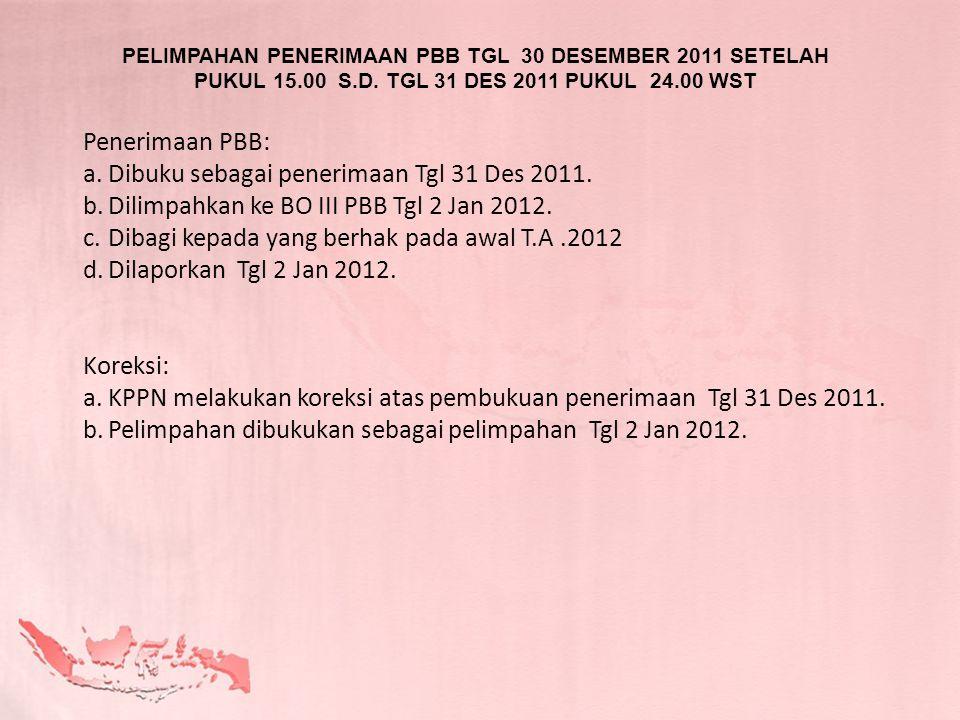 Dibuku sebagai penerimaan Tgl 31 Des 2011.