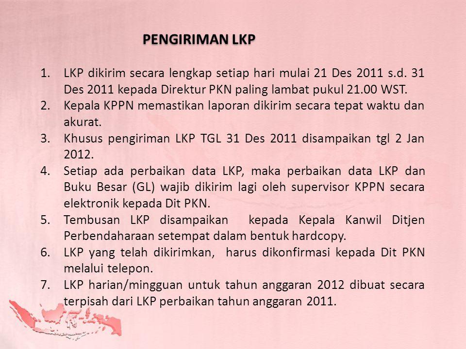 PENGIRIMAN LKP LKP dikirim secara lengkap setiap hari mulai 21 Des 2011 s.d. 31 Des 2011 kepada Direktur PKN paling lambat pukul 21.00 WST.