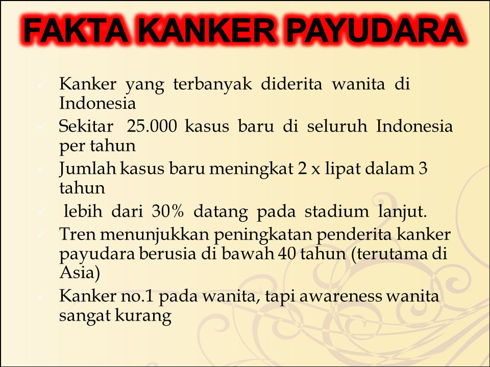 FAKTA KANKER PAYUDARA Kanker yang terbanyak diderita wanita di Indonesia. Sekitar 25.000 kasus baru di seluruh Indonesia per tahun.