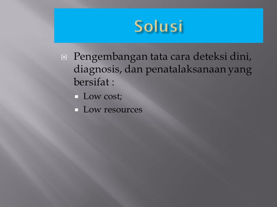 Solusi Pengembangan tata cara deteksi dini, diagnosis, dan penatalaksanaan yang bersifat : Low cost;