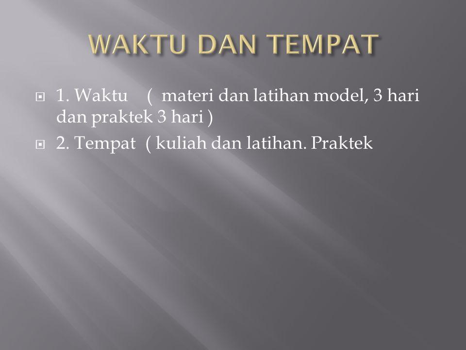 WAKTU DAN TEMPAT 1. Waktu ( materi dan latihan model, 3 hari dan praktek 3 hari ) 2.