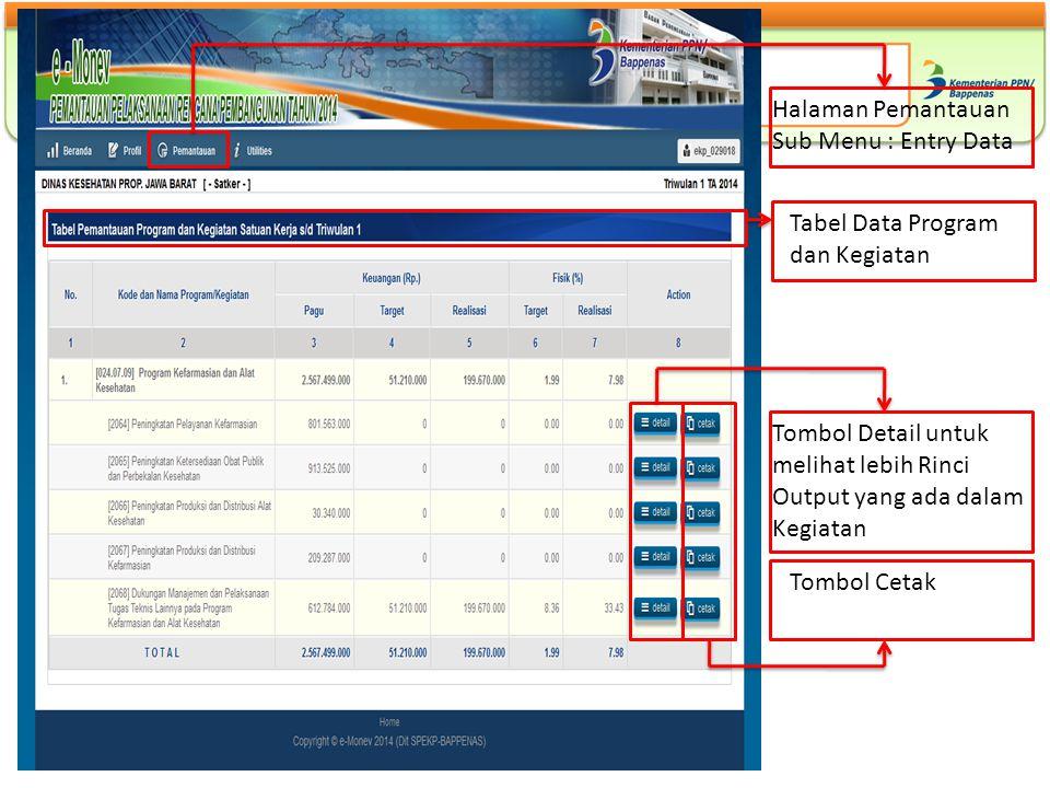 Halaman Pemantauan Sub Menu : Entry Data. Tabel Data Program. dan Kegiatan. Tombol Detail untuk melihat lebih Rinci Output yang ada dalam Kegiatan.