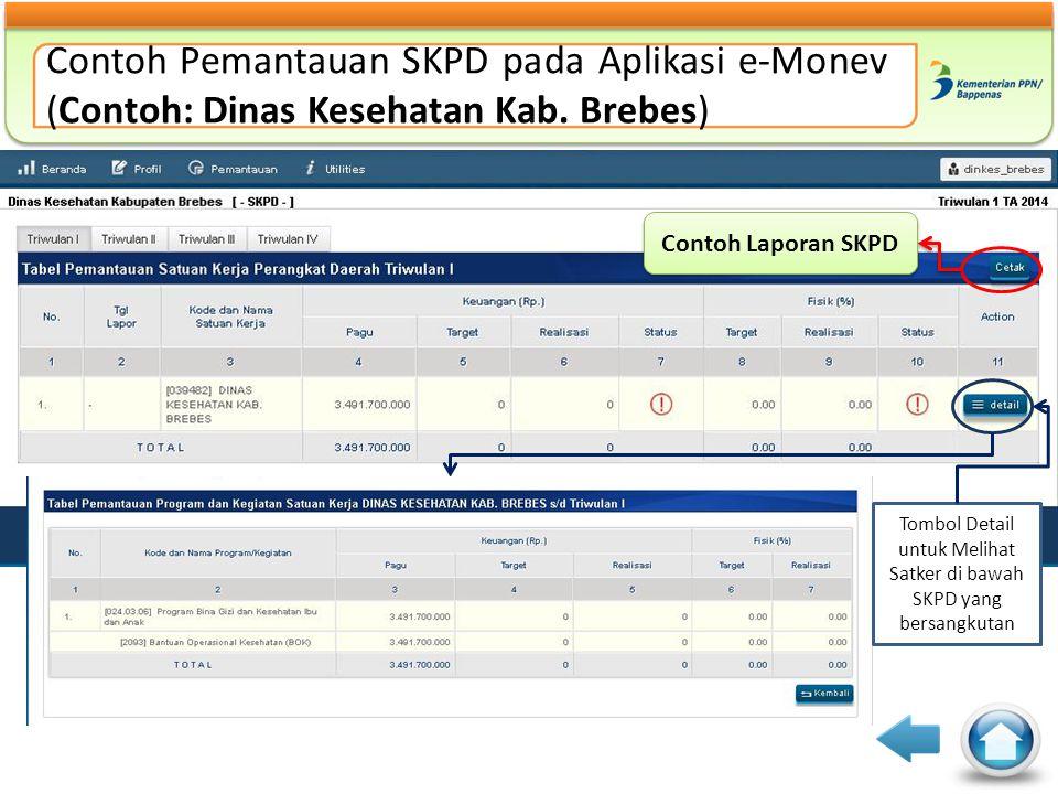 Tombol Detail untuk Melihat Satker di bawah SKPD yang bersangkutan