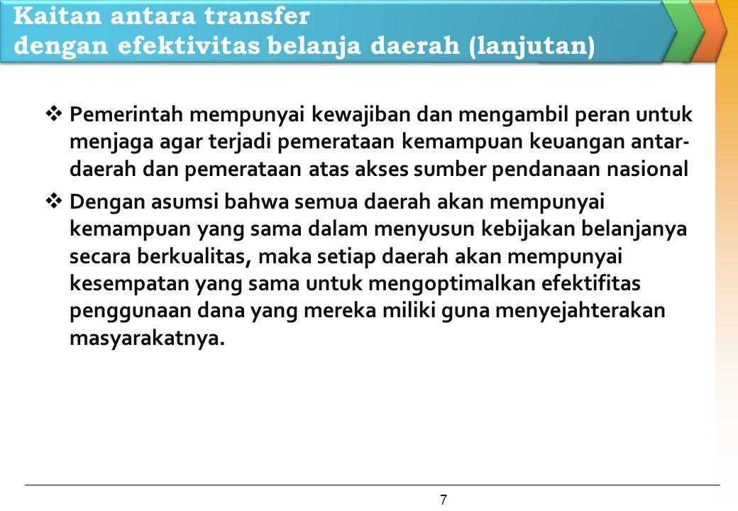 Kaitan antara transfer dengan efektivitas belanja daerah (lanjutan)