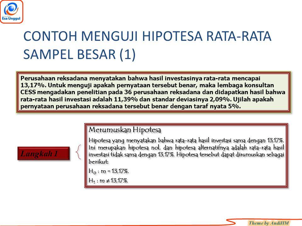 CONTOH MENGUJI HIPOTESA RATA-RATA SAMPEL BESAR (1)