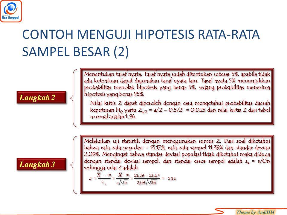 CONTOH MENGUJI HIPOTESIS RATA-RATA SAMPEL BESAR (2)