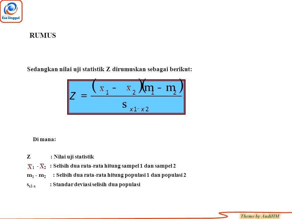 RUMUS Sedangkan nilai uji statistik Z dirumuskan sebagai berikut: ( ) ( ) - m. - m. = X. X.