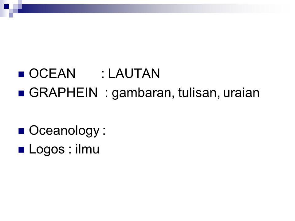 OCEAN : LAUTAN GRAPHEIN : gambaran, tulisan, uraian Oceanology : Logos : ilmu