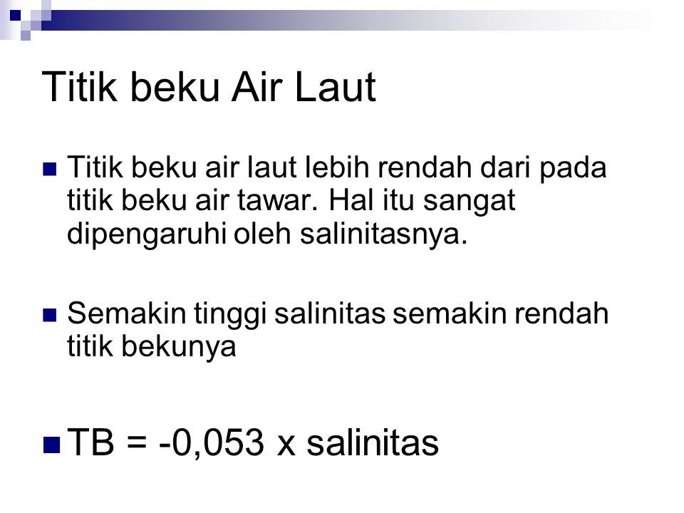 Titik beku Air Laut TB = -0,053 x salinitas