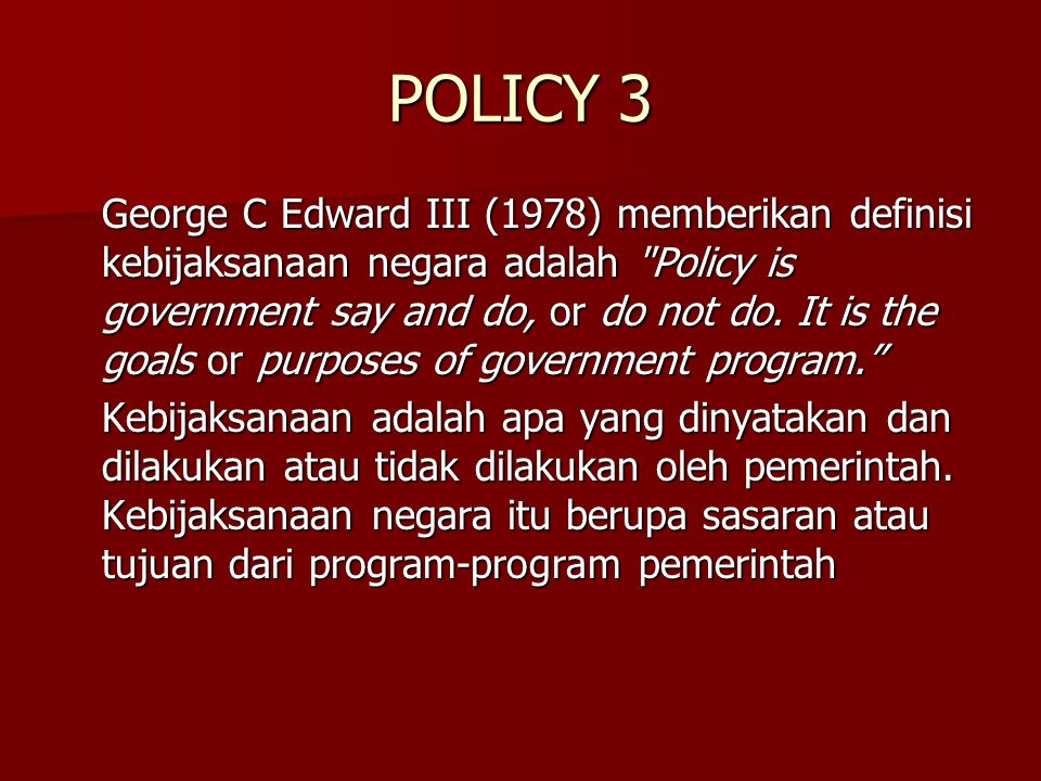 POLICY 3