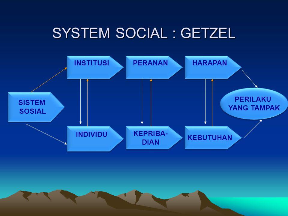 SYSTEM SOCIAL : GETZEL INSTITUSI PERANAN HARAPAN PERILAKU YANG TAMPAK