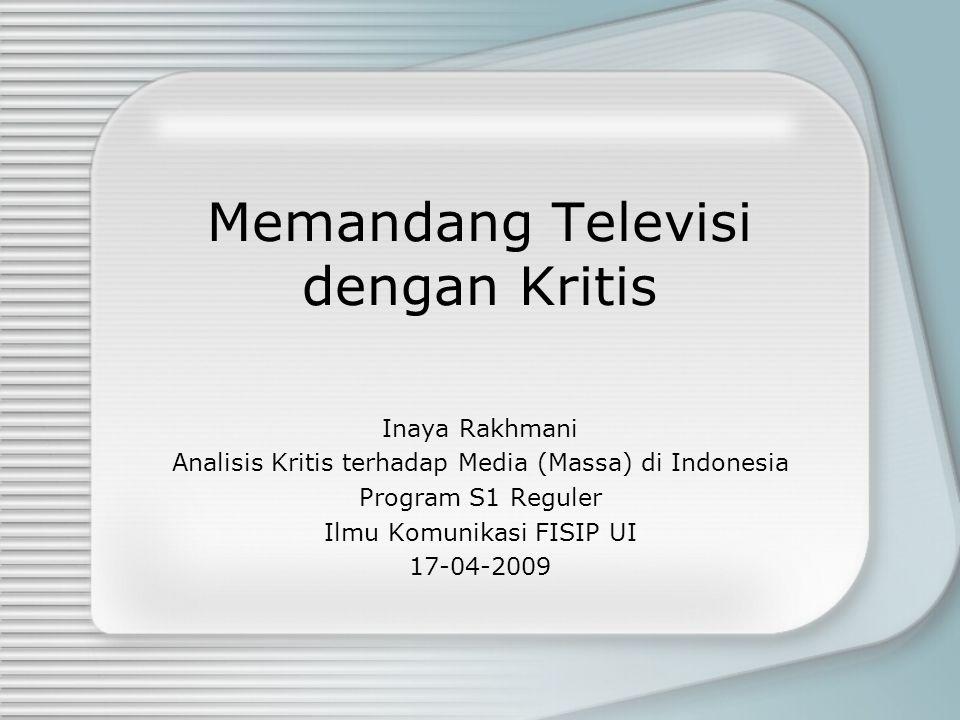Memandang Televisi dengan Kritis