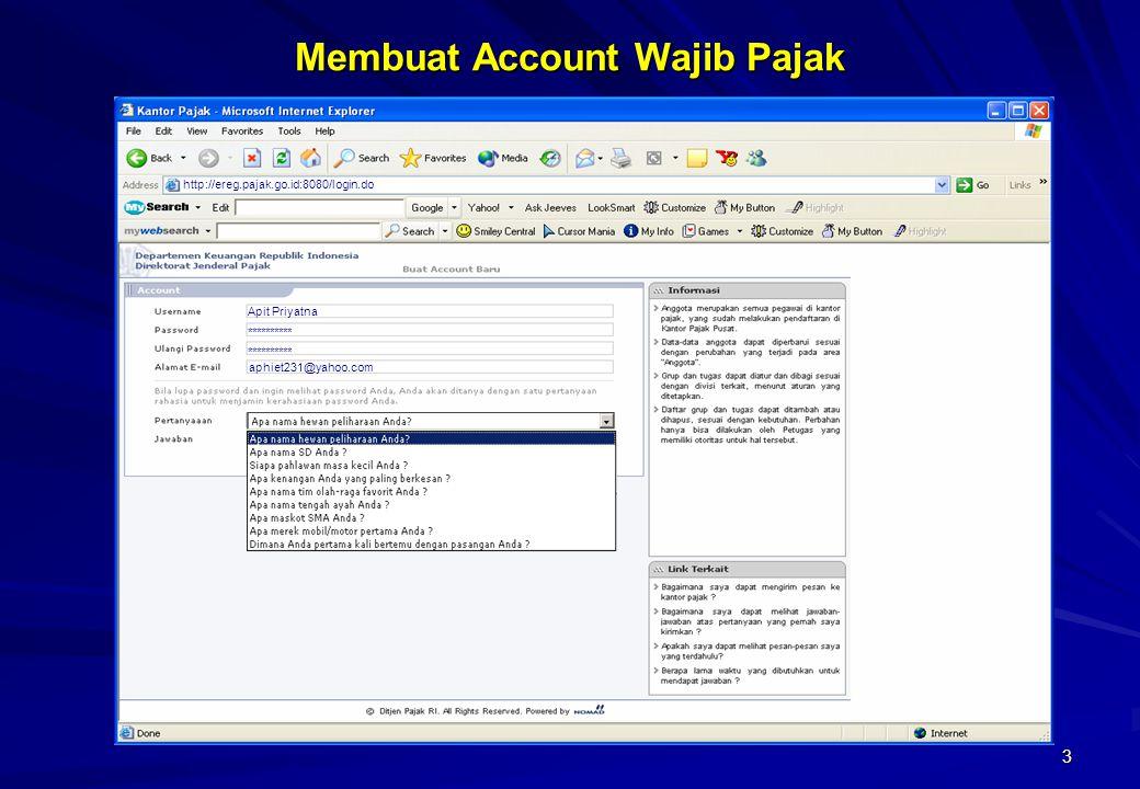 Membuat Account Wajib Pajak