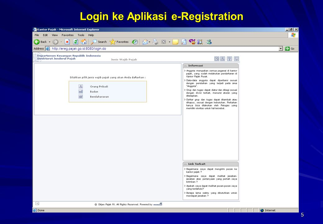 Login ke Aplikasi e-Registration