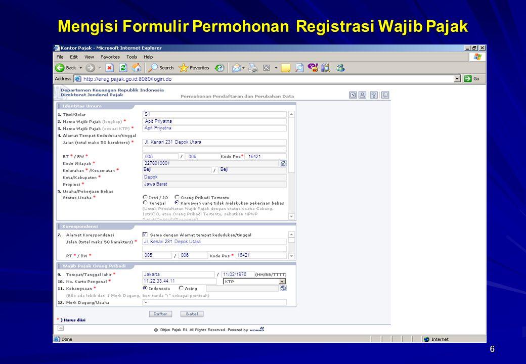 Mengisi Formulir Permohonan Registrasi Wajib Pajak