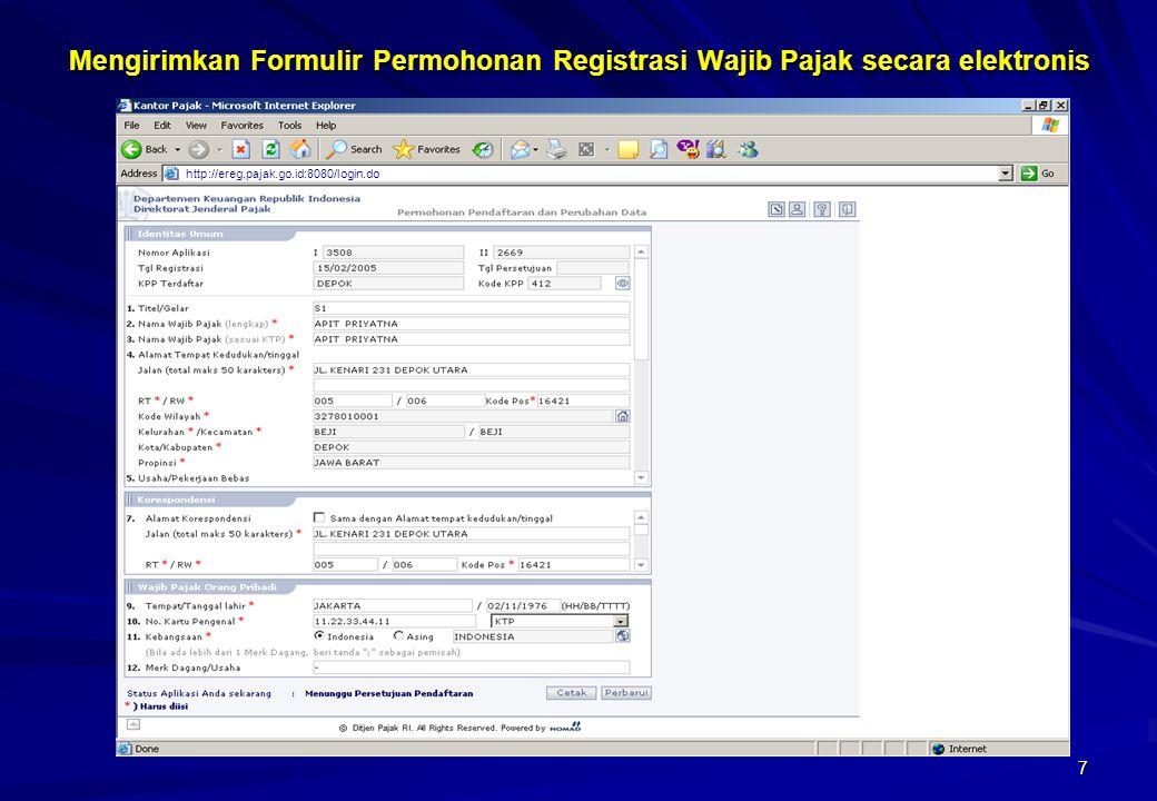 Mengirimkan Formulir Permohonan Registrasi Wajib Pajak secara elektronis