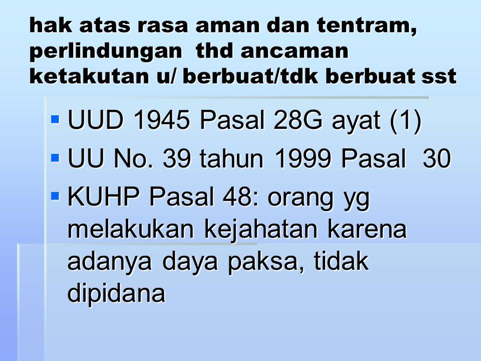 UUD 1945 Pasal 28G ayat (1) UU No. 39 tahun 1999 Pasal 30