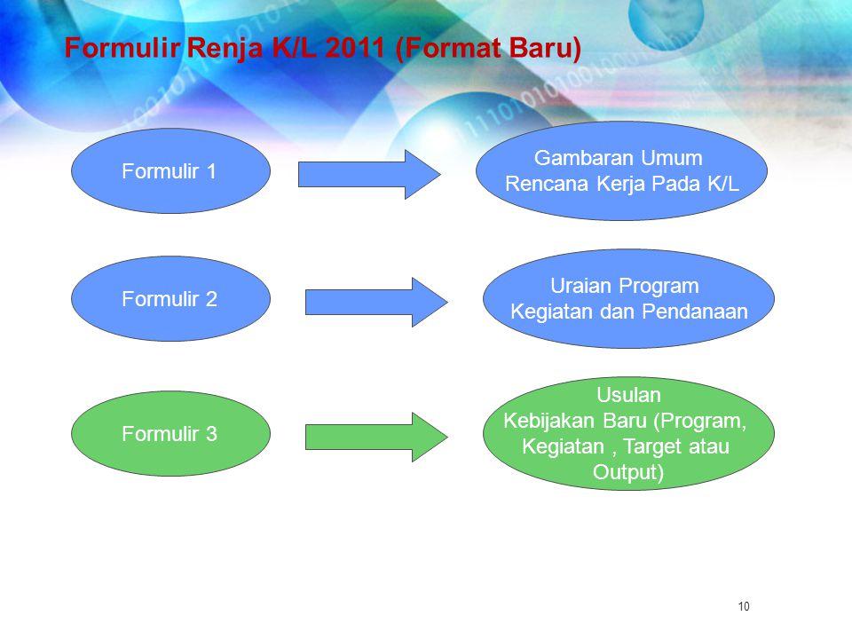 Formulir Renja K/L 2011 (Format Baru)
