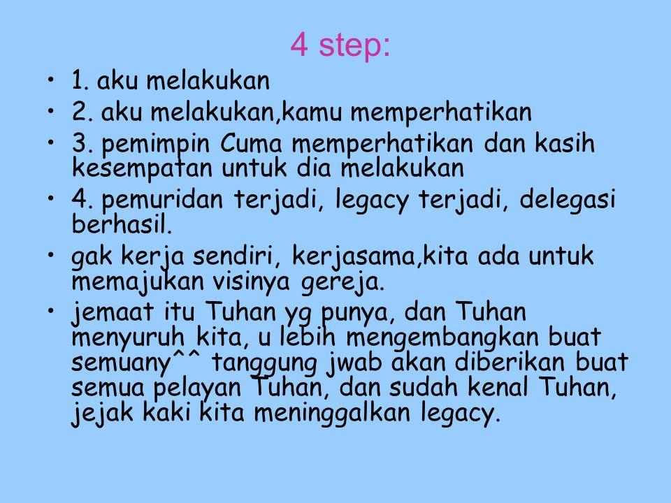 4 step: 1. aku melakukan 2. aku melakukan,kamu memperhatikan