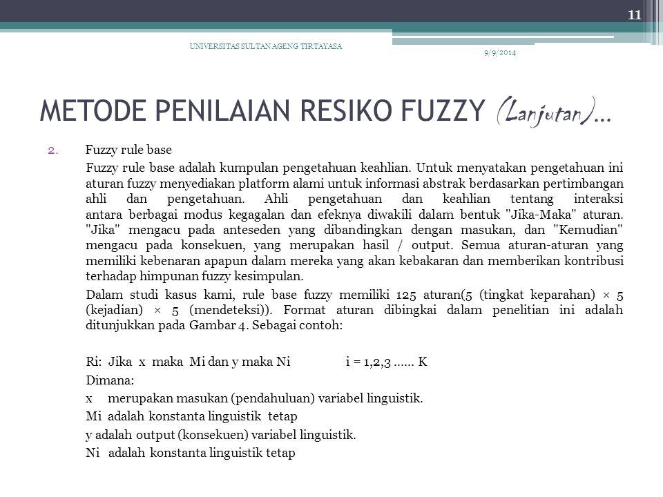METODE PENILAIAN RESIKO FUZZY (Lanjutan)…