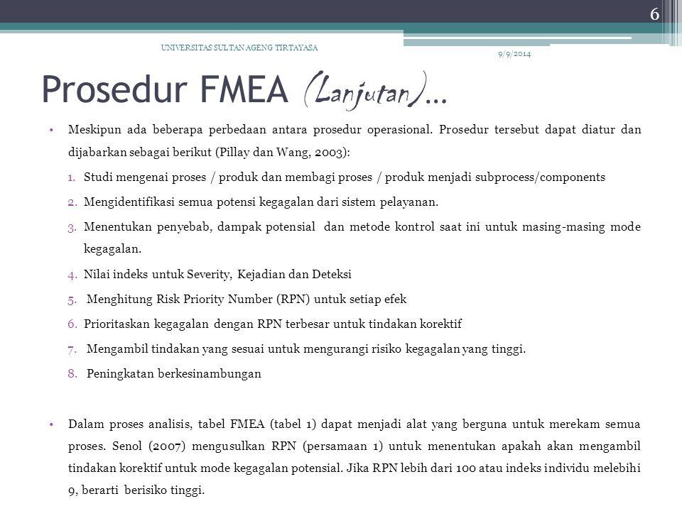 Prosedur FMEA (Lanjutan)…