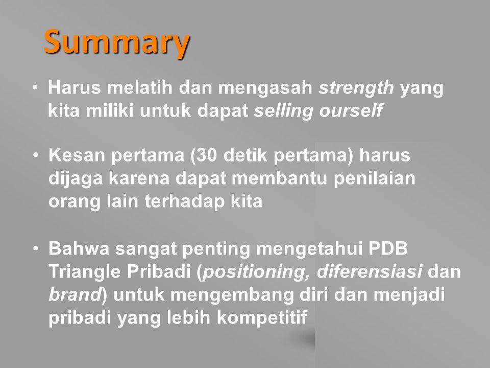 Summary Harus melatih dan mengasah strength yang kita miliki untuk dapat selling ourself.