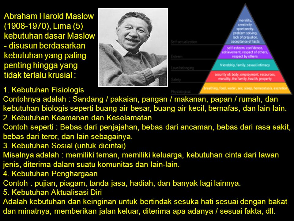 Abraham Harold Maslow (1908-1970), Lima (5) kebutuhan dasar Maslow - disusun berdasarkan kebutuhan yang paling penting hingga yang tidak terlalu krusial :