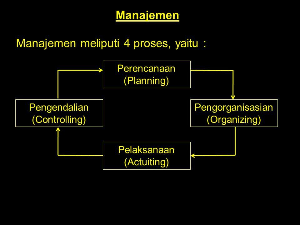 Manajemen meliputi 4 proses, yaitu :