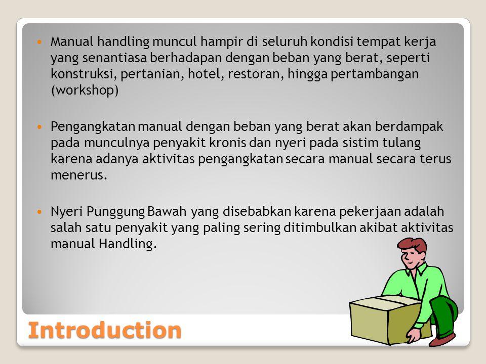 Manual handling muncul hampir di seluruh kondisi tempat kerja yang senantiasa berhadapan dengan beban yang berat, seperti konstruksi, pertanian, hotel, restoran, hingga pertambangan (workshop)