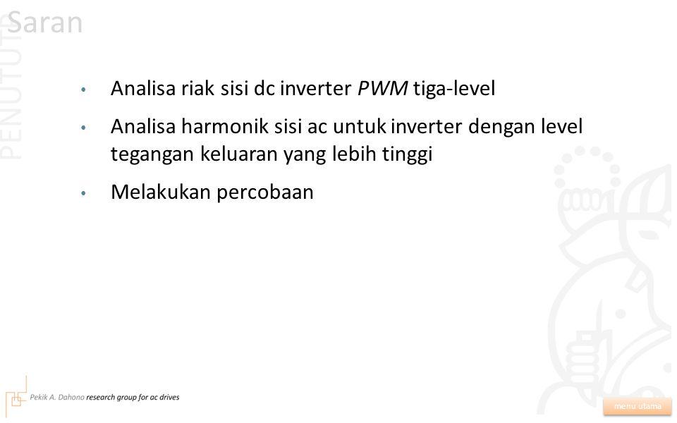 Saran PENUTUTP Analisa riak sisi dc inverter PWM tiga-level