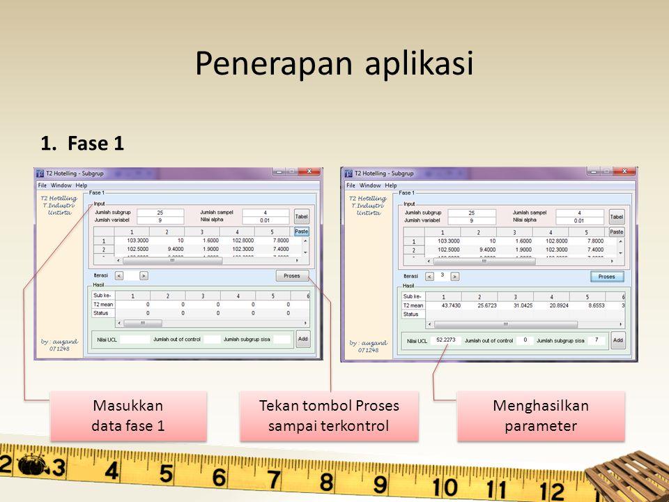 Penerapan aplikasi 1. Fase 1 Masukkan data fase 1