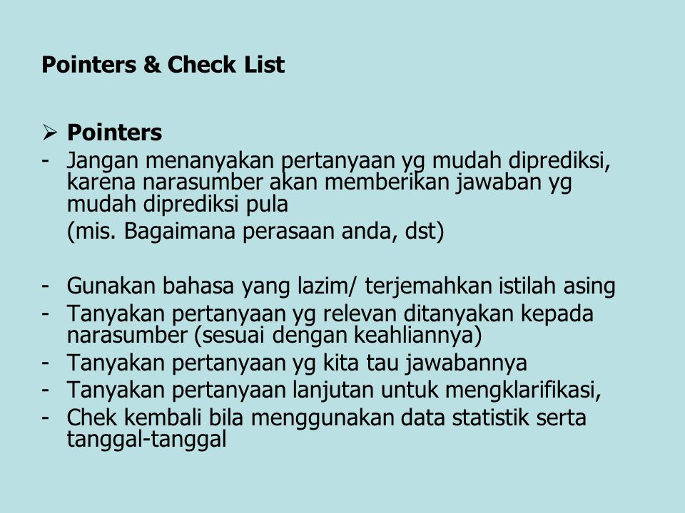 Pointers & Check List Pointers.