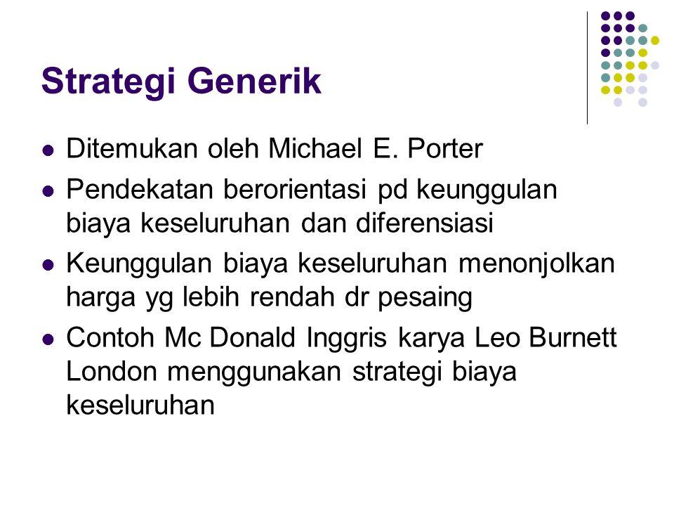 Strategi Generik Ditemukan oleh Michael E. Porter