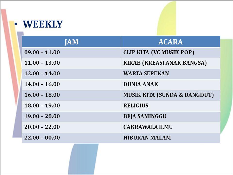 WEEKLY JAM ACARA 09.00 – 11.00 CLIP KITA (VC MUSIK POP) 11.00 – 13.00