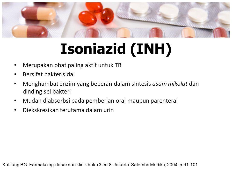 Isoniazid (INH) Merupakan obat paling aktif untuk TB
