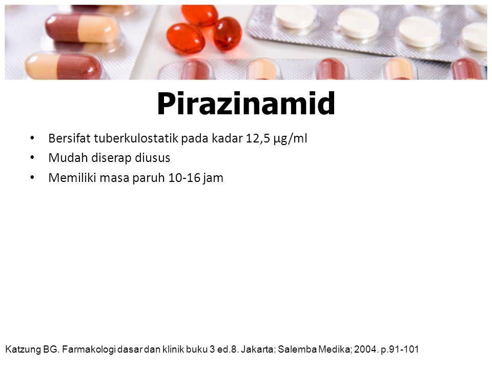 Pirazinamid Bersifat tuberkulostatik pada kadar 12,5 μg/ml