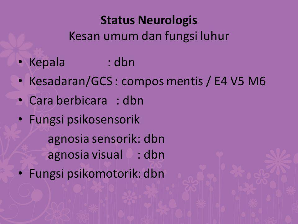 Status Neurologis Kesan umum dan fungsi luhur