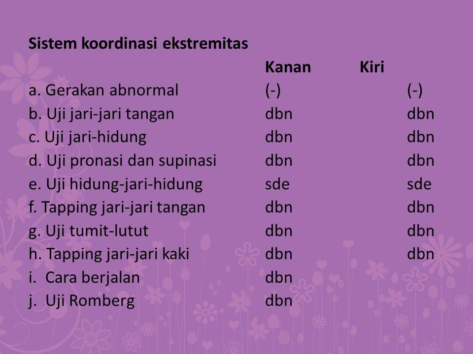 Sistem koordinasi ekstremitas Kanan Kiri a. Gerakan abnormal (-) (-) b