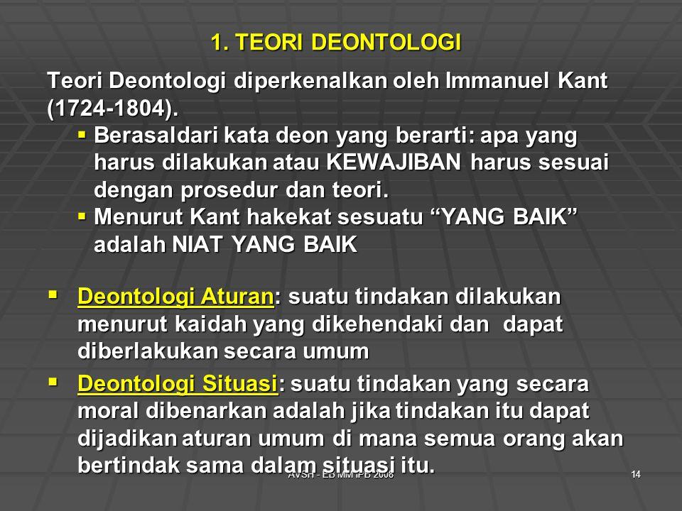 Teori Deontologi diperkenalkan oleh Immanuel Kant (1724-1804).
