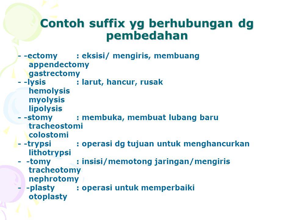 Contoh suffix yg berhubungan dg pembedahan