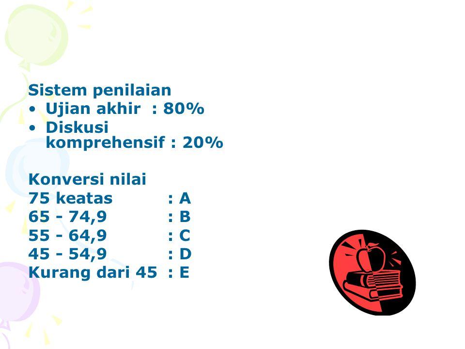 Sistem penilaian Ujian akhir : 80% Diskusi komprehensif : 20% Konversi nilai. 75 keatas : A. 65 - 74,9 : B.