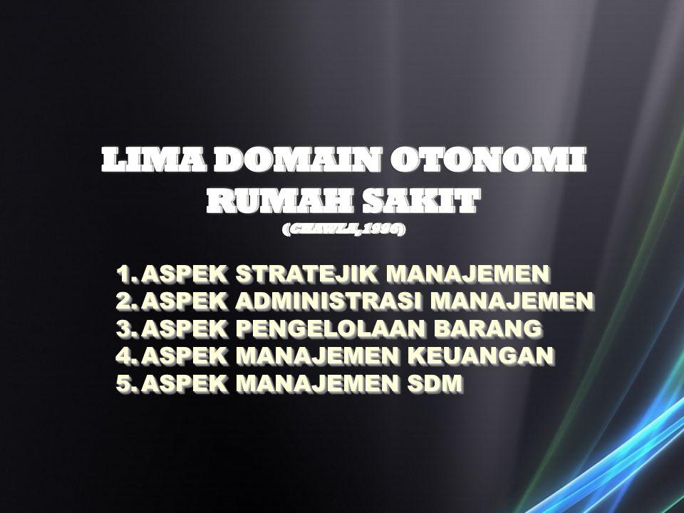 LIMA DOMAIN OTONOMI RUMAH SAKIT (CHAWLA,1996)
