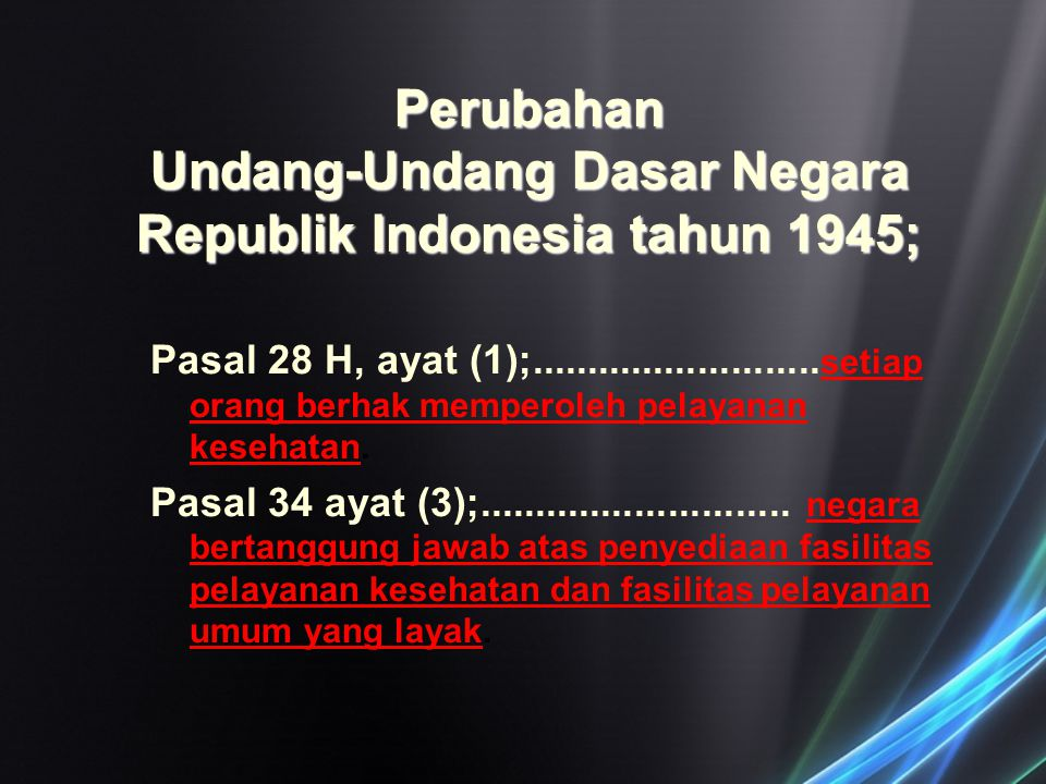 Perubahan Undang-Undang Dasar Negara Republik Indonesia tahun 1945;