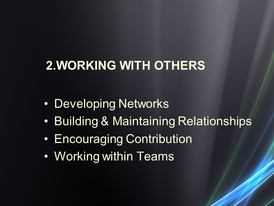 2.WORKING WITH OTHERS Developing Networks. Building & Maintaining Relationships. Encouraging Contribution.